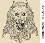 illustration of a werewolf head ... | Shutterstock . vector #797658427
