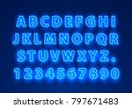 font neon blue symbol  light... | Shutterstock .eps vector #797671483