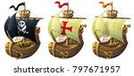 vector set of ships isolated on ... | Shutterstock .eps vector #797671957