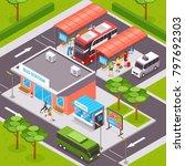 bus station isometric design... | Shutterstock . vector #797692303