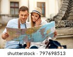 tourist man and woman with map... | Shutterstock . vector #797698513