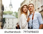 travel. couple walking on... | Shutterstock . vector #797698603