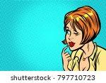 woman pop art kitsch thinks... | Shutterstock .eps vector #797710723