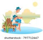 fatherhood child rearing...   Shutterstock .eps vector #797712667