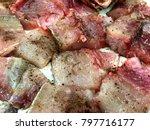 meat of river fish. preparing... | Shutterstock . vector #797716177