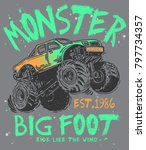 hand drawn monster truck with... | Shutterstock .eps vector #797734357