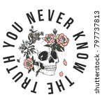 hand drawn skull and roses with ... | Shutterstock .eps vector #797737813