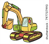cute cartoon excavator on white ...