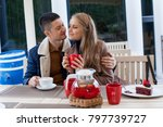 restaurant on the street. a guy ... | Shutterstock . vector #797739727