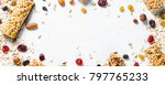 granola bar and ingredients on... | Shutterstock . vector #797765233
