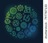 virus and bacteria round green... | Shutterstock .eps vector #797787133