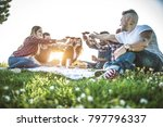 group of friends having pic nic ... | Shutterstock . vector #797796337