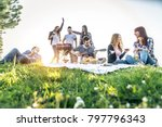 group of friends having pic nic ... | Shutterstock . vector #797796343