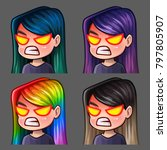 emotion icons rage female with... | Shutterstock .eps vector #797805907