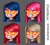 emotion icons rage female with... | Shutterstock .eps vector #797805913