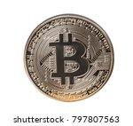 bitcoin coin on white... | Shutterstock . vector #797807563