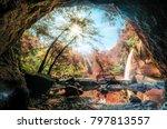 cave in waterfall under... | Shutterstock . vector #797813557
