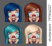 emotion icons crying female... | Shutterstock .eps vector #797816227