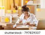 asian teenager owner business... | Shutterstock . vector #797829337