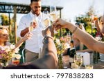 group of people toasting drinks ... | Shutterstock . vector #797838283