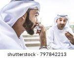three arabic men bonding... | Shutterstock . vector #797842213