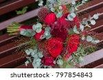 burgundy wedding flower bouquet   Shutterstock . vector #797854843