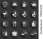 restaurant icon on round black... | Shutterstock .eps vector #79832230