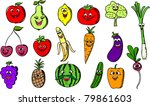cartoon funny fruits and... | Shutterstock .eps vector #79861603