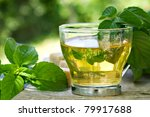 Mint Tea With Fresh Mint Leave...