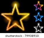 vector   glowing neon stars set ... | Shutterstock .eps vector #79938910