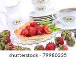 strawberry tart  fruits  mint...   Shutterstock . vector #79980235