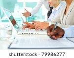 human hands during paperwork... | Shutterstock . vector #79986277