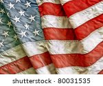 Old Worn And Dirty American Flag