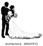 a bride and groom on their... | Shutterstock .eps vector #80065912