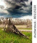 old broken wooden fence   Shutterstock . vector #80115220