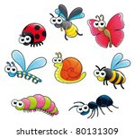 Bugs + 1 snail. Funny cartoon and vector isolated characters. - stock vector