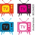 vintage tv set vector... | Shutterstock .eps vector #80136820