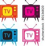 vintage tv set vector...   Shutterstock .eps vector #80136820