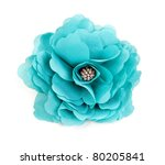 Stock photo turquoise fabric flower isolated on a white background 80205841
