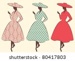 vintage silhouette of girls....