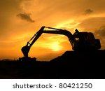 digger shovel working at subset