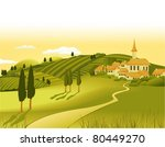rural landscape with little town