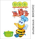 little bee on the kitchen - stock vector