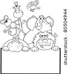 outlined jungle animals with... | Shutterstock . vector #80504944
