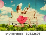 beautiful woman with laptop in clouds, vintage pattern - stock photo