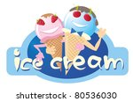 two funny ice cream male and female, the vector - stock vector