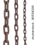 rusty old steel chain in any different size on white background - stock photo