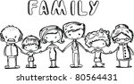 happy family holding hands and...   Shutterstock .eps vector #80564431