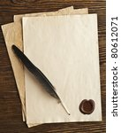old paper and feather with a... | Shutterstock . vector #80612071