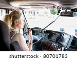woman truck driver in a big rig ... | Shutterstock . vector #80701783